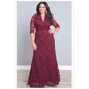 Kiyonna lace siren dress in burgundy color